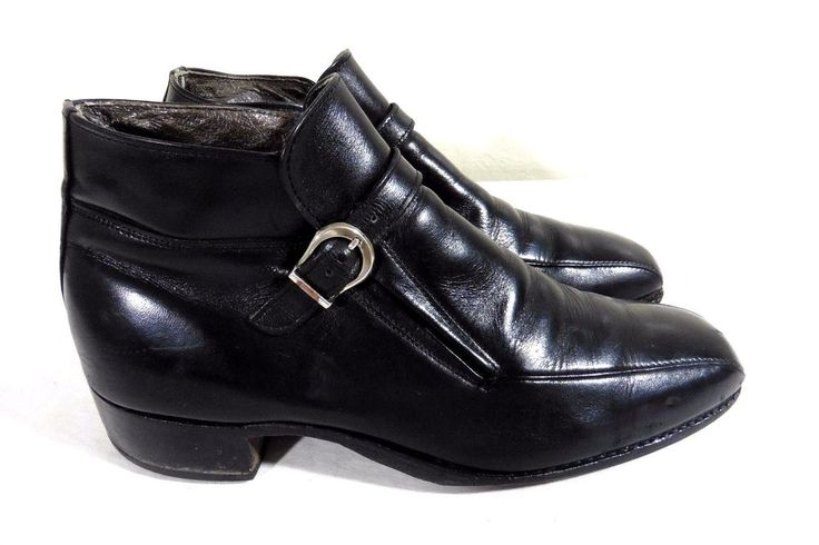 VINTAGE FLORSHEIM IMPERIAL??? BLACK LEATHER ANKLE BOOTS/SHOES STRAP & BUCKLE 8D #FlorsheimImperial #AnkleBoots