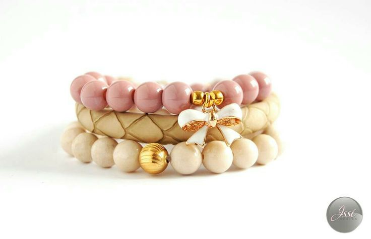 Sweet beige set ; bracelets set by Issi;  snake skin ; bow;
