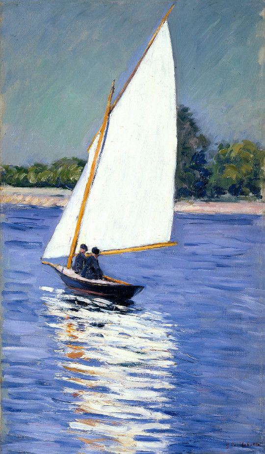 """""""Sailing on the Seine"""": Gustave Caillebotte, 1892."""