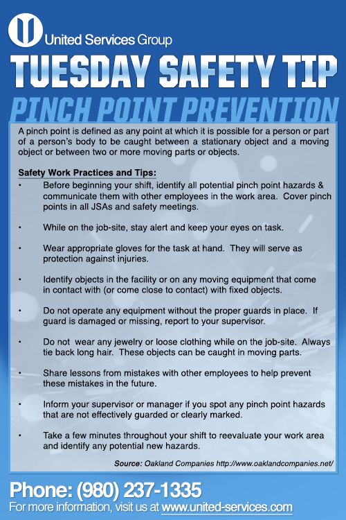 This week's Tuesday Safety Tip is about Pinch Points Prevention Tips. United Services is dedicated making safety information available to our employees and customers to further emphasis our safety culture. The credit for this week's safety information was provided by Oakland Companies.  #safety #safetytips #osha #prevention #pinchpoints #pinch #injury #tips #nuclear #fossil #energy