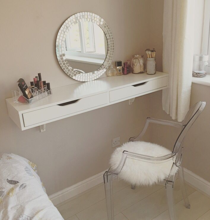Dressing table - EKBY wall shelf from ikea with ghost chair to match. #dressingtable #shelving #ghostchair #ikea