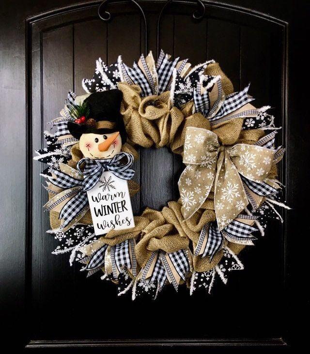Snowman Wreath Primitive Snowman Wreath With Snowflake Ribbon Etsy In 2020 Burlap Christmas Wreath Burlap Wreath Winter Wreath