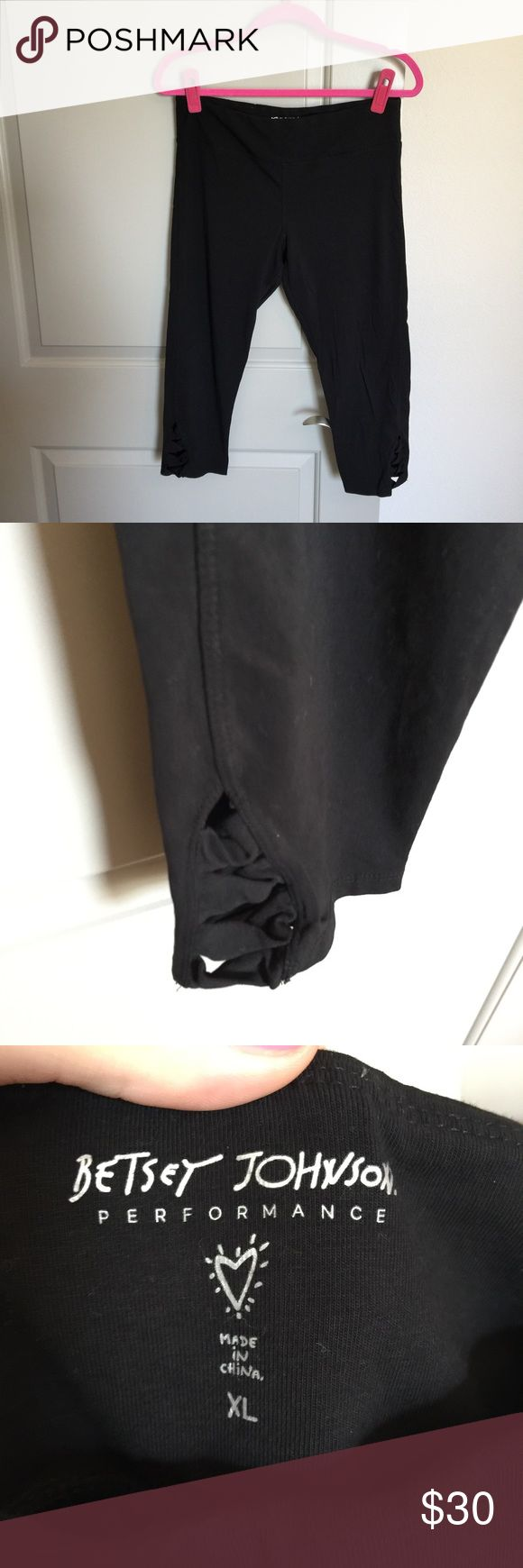 Black Workout Capris Great condition black Workout Capris. Purchased from Saks Fifth Avenue! Adorable detail on the side of the leg at the bottom! Betsey Johnson Pants Capris