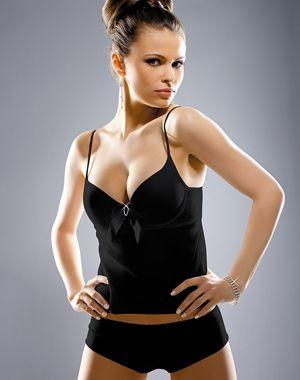 Image of Gracya Princess Babydoll Set in Black with Brief