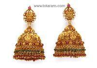 22K Gold 'Lakshmi' Jhumkas (Temple Jewellery)
