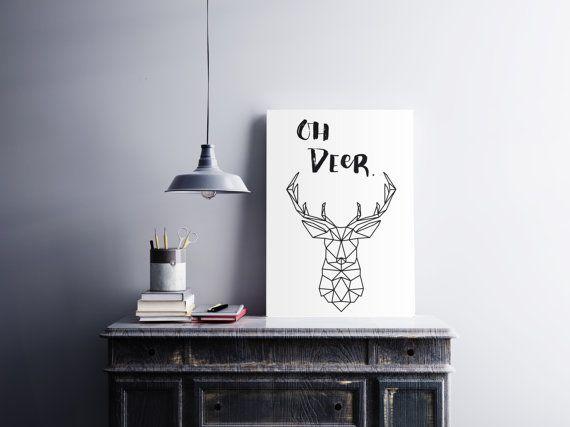 Oh Deer Print Wall Art Digital Print by ElettrasHappyLetters