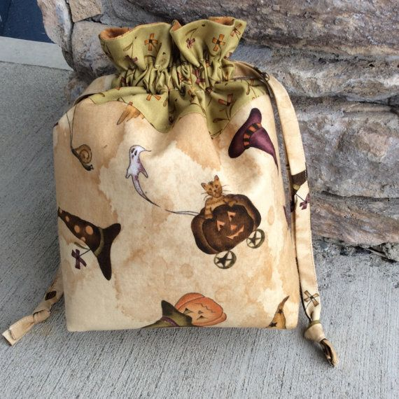 Fall/Halloween Themed Padded Drawstring Craft by KnittersNook, $22.00