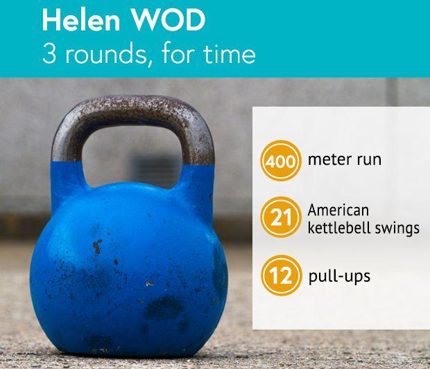 Helen WOD: 3 rounds, for time: 400 meter run, 21 American kettlebell swings, 12 pull-ups