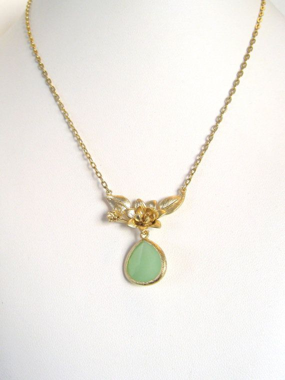 $35 Gold Flower Mint Necklace Lotus Flower Necklace Outdoor Wedding Rustic Bridal Jewelry Green Mint Wedding Jewelry Mint Bridesmaid Necklace