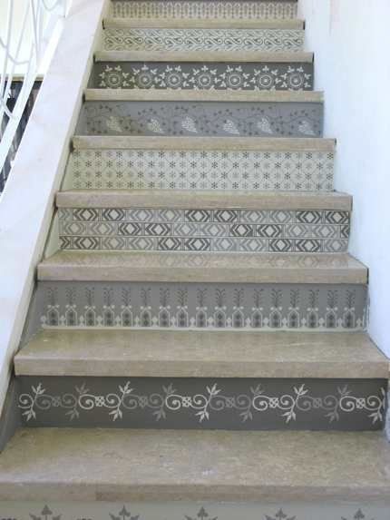 I would do these in exactly these colors. Look!: Stenciled Stairs