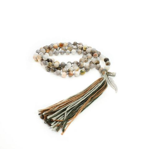 African Opal Mala Necklace