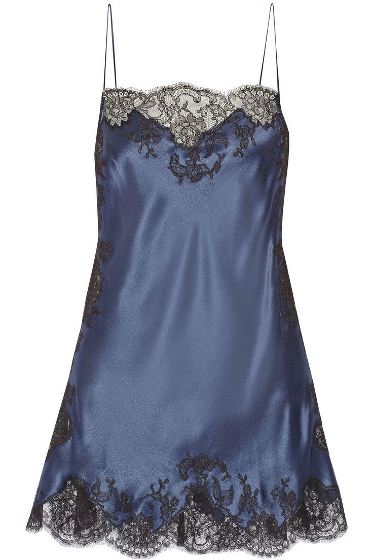 Carine Gilson|Lace-trimmed silk-satin chemise#lingerie