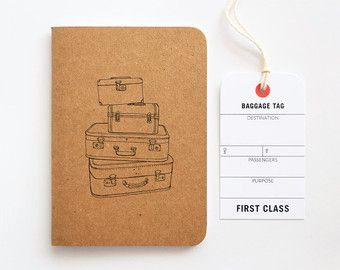 Pocket Travel Journal, Small Travel Notebook with Vintage Suitcase Illustration | Hand Illustrated Traveler's Journal