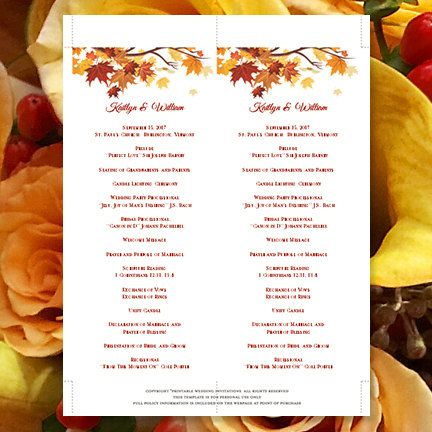 This printable DIY ceremony program is a delightful choice for a fall, Thanksgiving or autumn wedding. It is an instant download and will be immediately available to you under the purchases tab of your Etsy account. Your files will be sent to you immediately upon payment through Etsy. Print your own wedding stationery and save hundreds of dollars on your wedding budget. Create your own tea length wedding programs in 3 easy steps ... 1) Change existing example text to your own 2) Print on 8.5 ...