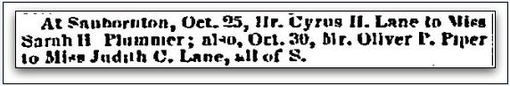 """Wedding announcements published by the New Hampshire Patriot and State Gazette newspaper (Concord, New Hampshire), 30 November 1848. Read more on the GenealogyBank blog: """"BOGO: Search for One Relative & Find Another One as a Bonus."""" http://blog.genealogybank.com/bogo-look-for-one-relative-get-another-one-as-a-bonus.html"""