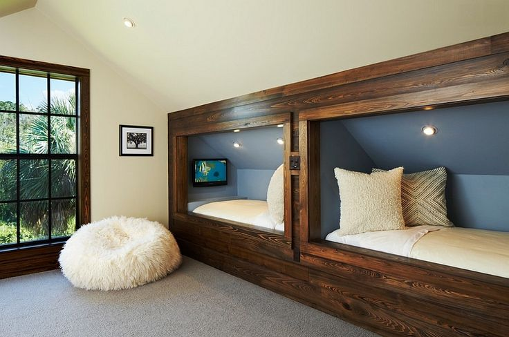 Rustic Kids' Bedrooms with Creative, Cozy Elegance ---  Perfect bed nooks for bedrooms with a sloping roof