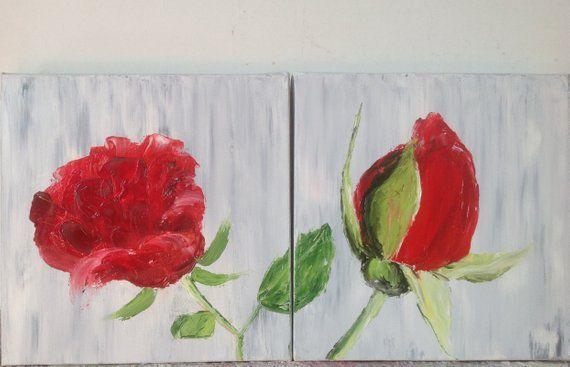 Diptyques De Roses Et Bouton De Rose Peinture A L Huile Au Couteau