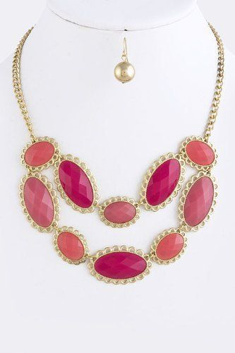 """Fuchsia and Gold Jewel Drape Collar Necklace - Lace Oval Gold Accent Jewel Layered Necklace StarShine Jewelry. $17.60. Matching earrings come as set. Length approx 18"""". Lobster claw clasp with 3"""" extender. Lead and nickel compliant. Laced oval jewel necklace"""