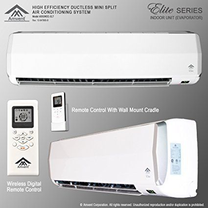 Amvent 18000 BTU 1.5 Ton Ductless Wall Mount Mini Split Room Air Conditioner AC Conditioning Cooling System Unit