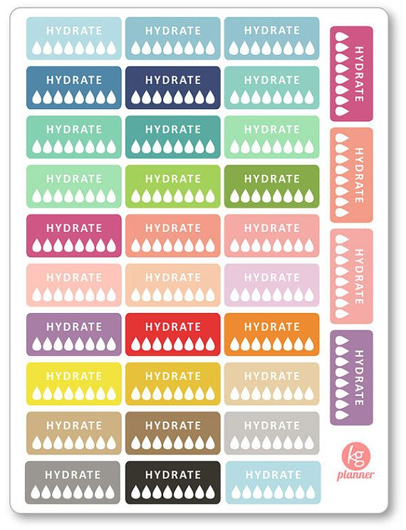 Hydrate Half Box Planner Stickers for Erin Condren by KGPlanner