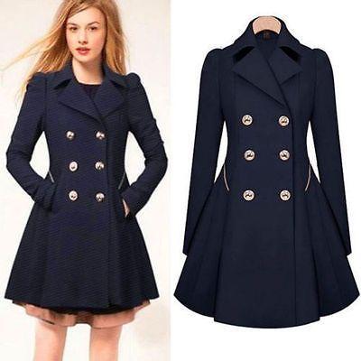 Moda Mujer Dama Invierno cálido largo con solapa Rompevientos Parka Abrigo Prendas de abrigo chaqueta