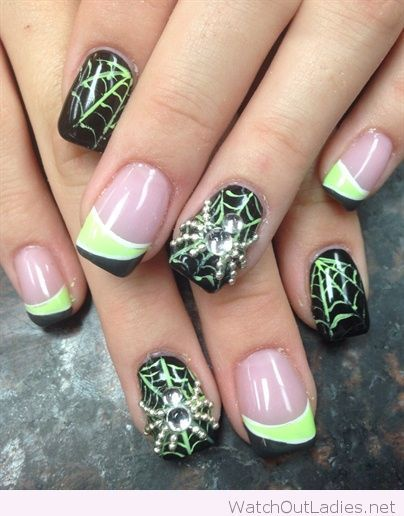 Spider web with neon accents