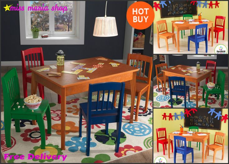 Childrens Table and Chairs Wooden Set 5 Pc Toddlers Kids Bedroom Furniture Large