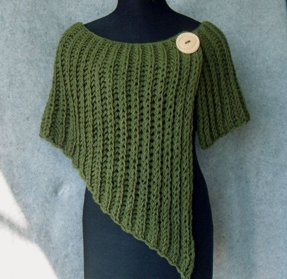 Knitted poncho - asymmetrical and very beautiful for autumn (color like grass)