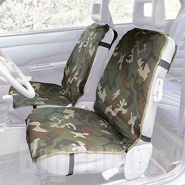 Coppia di coprisedili auto universali in cotone mimetico. Inserto posteriore ed elastici con ganci in metallo. Prodotto originale Kalibro, made in Italy.