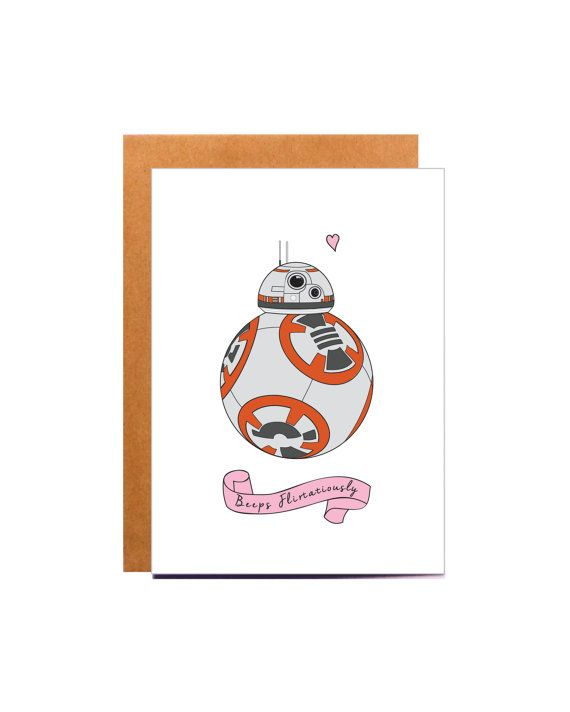 BB-8 Valentine card, Star Wars card.  An adorable card, the perfect Valentine or gift for anybody that loves Star Wars!  Design reads:  Beeps