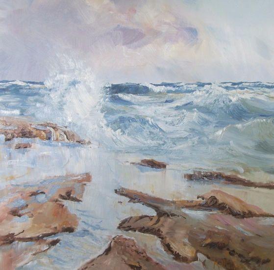 Rough Seas.  textured bright ocean water seascape artist