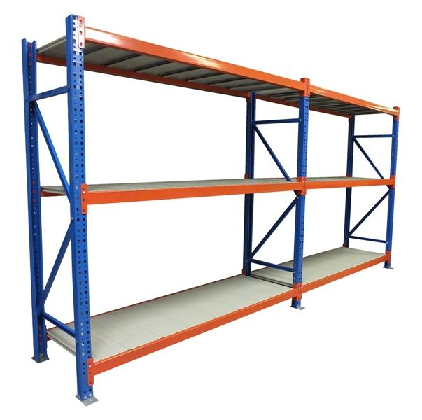 #longspan #racking #storage - Warehouse racking: Two complete storage racking units with 3 shelf levels per unit. Shown with metal shelf panels and finished in a vibrant blue and orange colour.  This quality low cost racking system is available in a variation of sizes. All Shopfitting Supplies systems are complete with a free floor fixing kit.