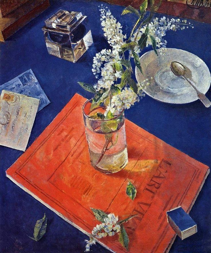유 Still Life Brushstrokes 유 Nature Morte Painting by Kuzma Petrov-Vodkin | Bird Cherry in a Glass, 1932