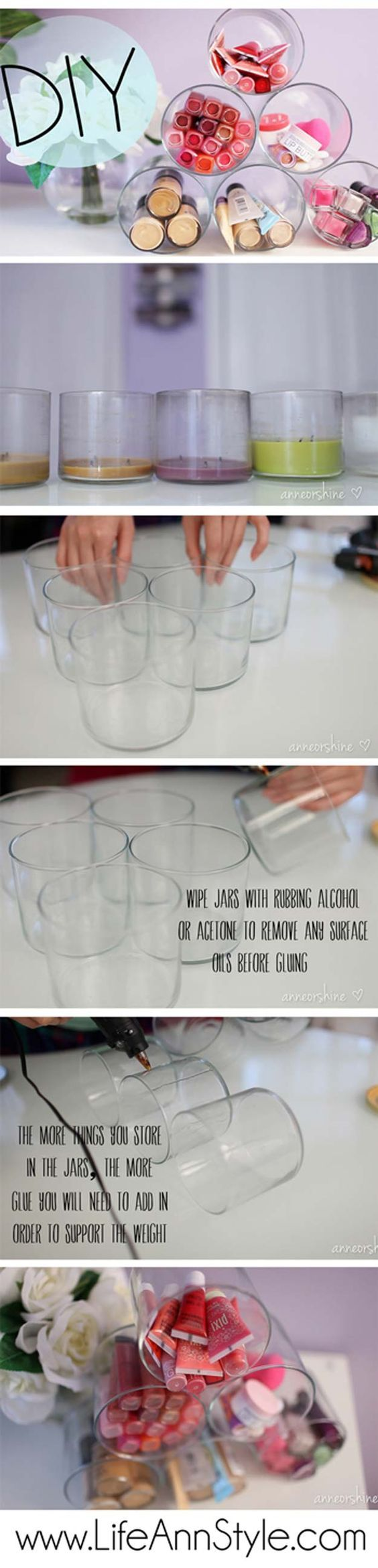 DIY Makeup Storage and Organizing - DIY: Repurposed Candle Jar Storage - Awesome Ideas and Dollar Stores Hacks for Some Seriously Great Organizers For Small Spaces - Box and Vanity Ideas as well as Easy Ideas for Jars and Drawers, Cheap Wall Shoebox Containers and Quick Holders with Cardboard - thegoddess.com/DIY-Makeup-Storage
