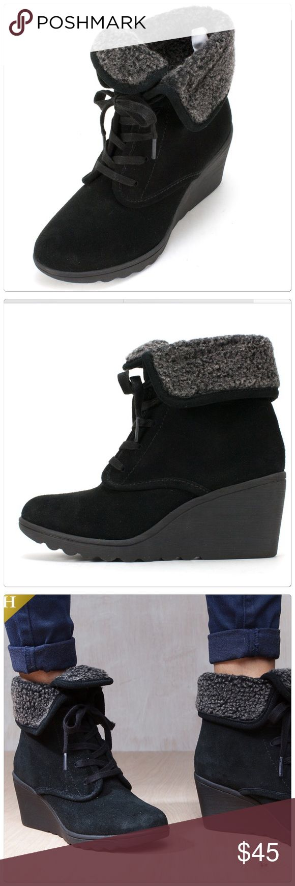 🆕 Black suede wedge boots White Mountain black suede wedge boots. Very comfortable! Size 6. Brand new. White Mountain Shoes Lace Up Boots