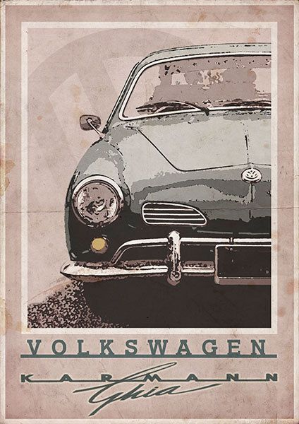 Volkswagen Karmann Ghia  Vintage Style Poster by 3ftDeep on Etsy, £17.49