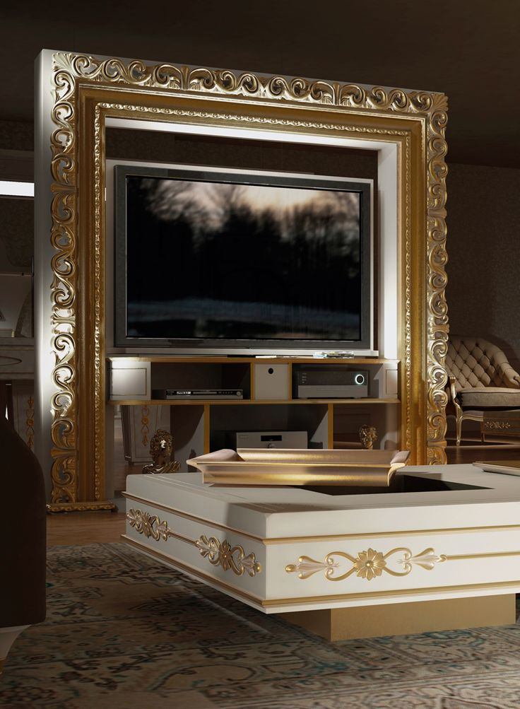 #vismaradesign luxurious and imponent #revolving home cinema #baroque in gold foil with our windows coffee table to let your home be unique and elegant. #madeinitaly #furniture #italianfurniture