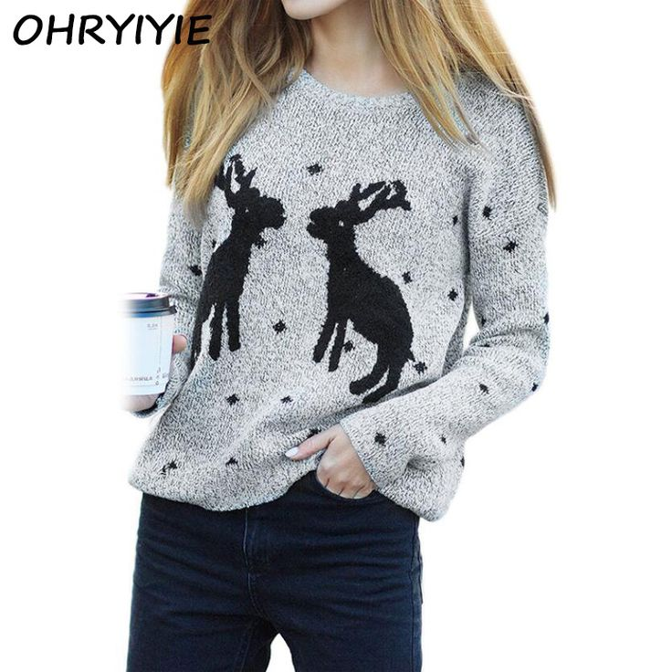 OHRYIYIE Women's Christmas Sweaters 2017 New Autumn Winter Sweater With Deer Print Knit Pullovers Long Sleeve Girls Casual Tops #Affiliate