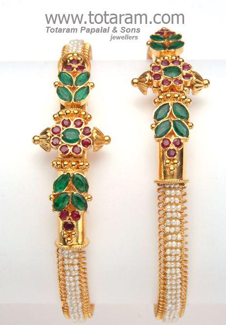 22K Gold Kada with Pearls: Totaram Jewelers: Buy Indian Gold jewelry