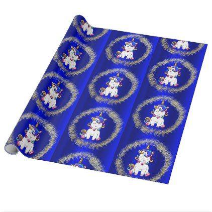 Colorful Glitter Unicorns Blue Wrapping Paper - glitter glamour brilliance sparkle design idea diy elegant