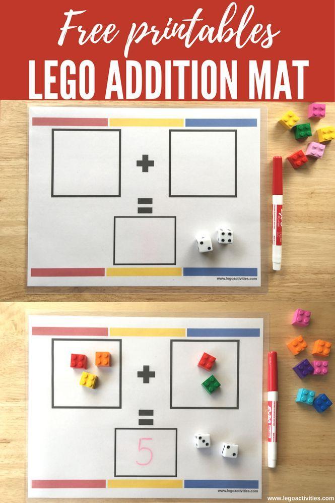 Free LEGO Addition Mat | Actividad de suma con ladrillos LEGO | http://www.legoactivities.com