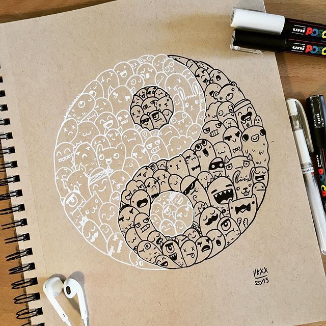 [TIMELAPSE : LINK IN BIO] I just made this little Yin & Yang Doodle today because I was unactive lately and tomorrow school starts I uploaded a timelapse video on my Youtube channel too (link in bio) Please subscribe, comment and like When I hit 500 subscribers I'll do a little giveaway Thank you for all the support