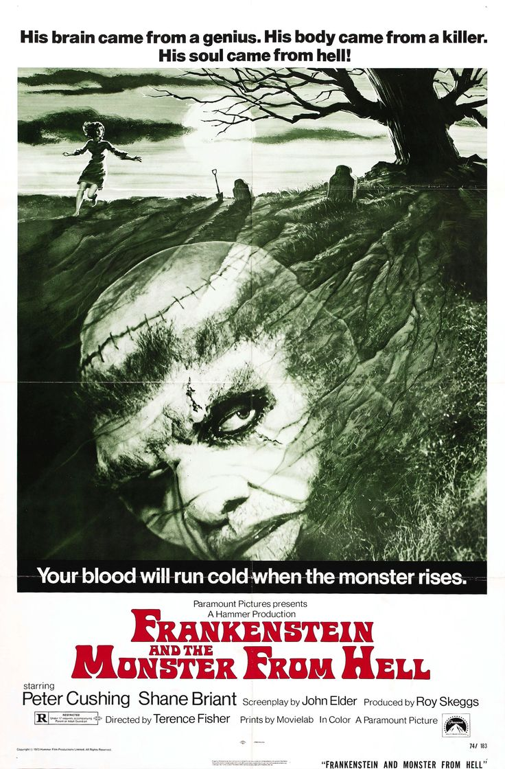 """Movie Poster for the Hammer horror film """"Frankenstein and the Monster from Hell"""" (1974), directed by Terence Fisher and starring Peter Cushing as the titular mad scientist and David Prowse as the monster"""