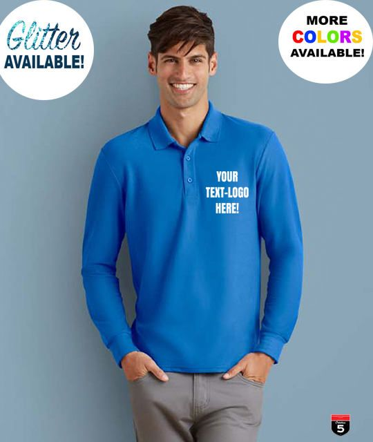 Personalized Polo long sleeve shirt, custom polo men tee, size S-2XL perfect gift and work shirt, customized logo text and image by Creation5Official on Etsy