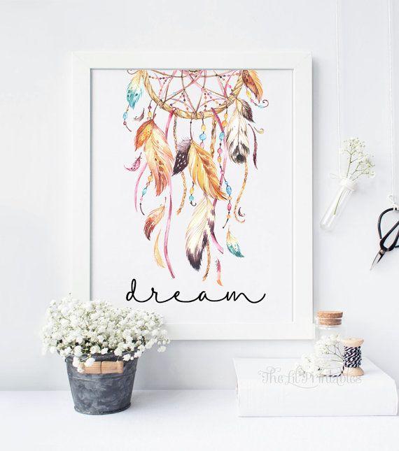 Dream Dreamcatcher Printable Wall Art Decor by TheLilPrintables