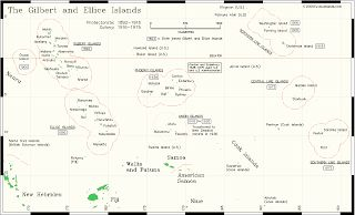 Gilbert & Ellice Islands Copyright: brcstamps.com The Gilbert group has Butariti, Tarawa, and Tamana as the more important islands. Besides the Ellice Islands, the Phoenix Islands, the Line Islands (Fanning, Washington, and Christmas (aka Kiritimati, not the Indian Ocean Christmas Island that puts out stamps)), and Ocean Island are part of the colony. By the way, notice the U.S. Howland Island? That is the last place Amelia Earhart's radio transmission was heard*.  The Capital was Tarawa…