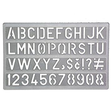 Pochoir chiffre et lettre 18 cm blanc ecole enfant scrapbooking alphabet