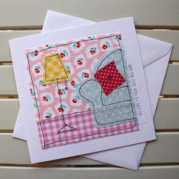 This unique, one-off, handmade new home card with pretty and colourful fabrics has been designed and made by myself using the technique of free motion machine embroidery. It is the perfect welcoming card for someone who has just moved into a new home. Individual pieces of fabric have been cut out by hand and then machine stitched into position to create the cosy sofa, lamp and background. The card is an original fabric design and is not a photographic reproduction. The message on the front…