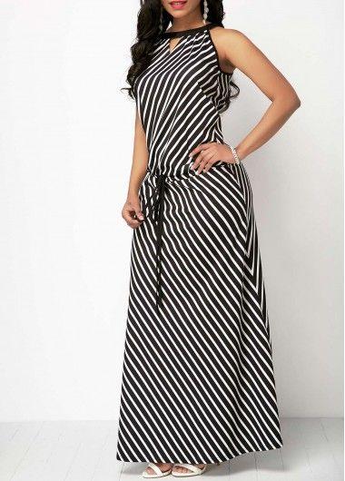 b10ed5baa6ba9 V Cutout Drawstring Waist Striped Maxi Dress in 2019