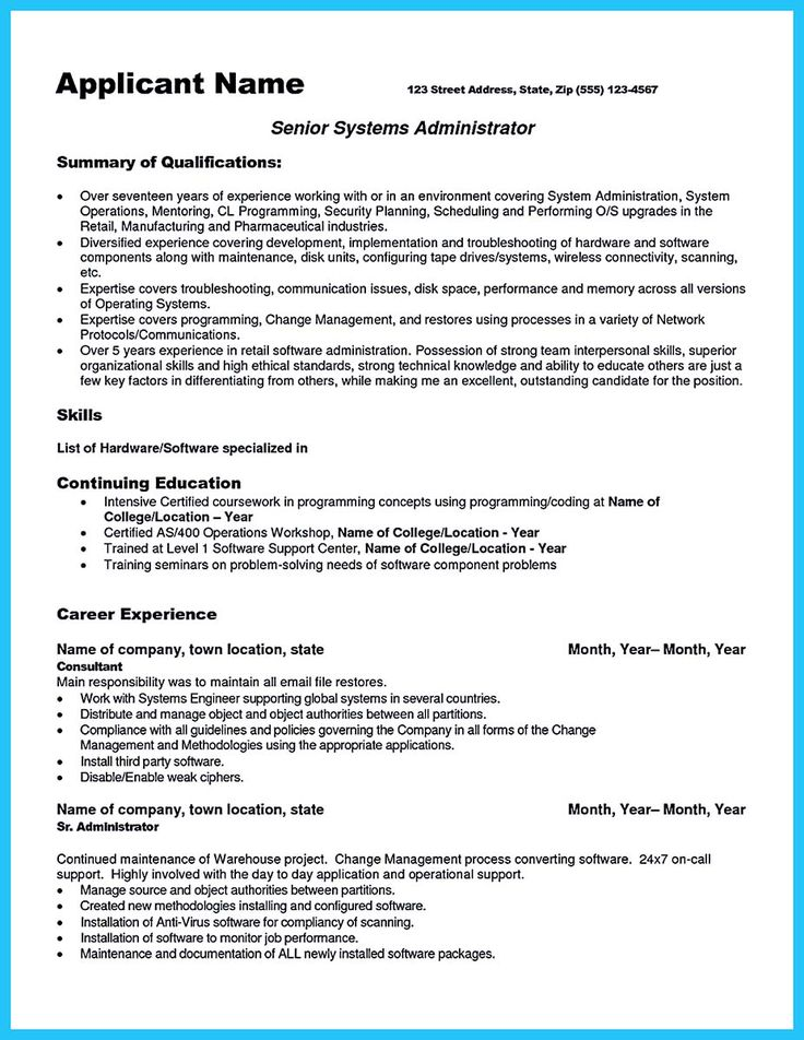 Sample Resume Senior Network Administrator Maker Create Pinterest Linux System Samples